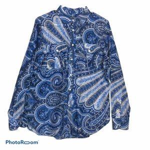 Ralph Lauren Silk Blend Sheer Paisley Blouse, L
